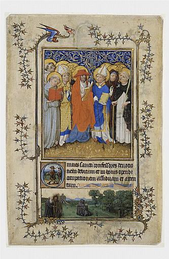 Feuillet de manuscrit représentant des saints