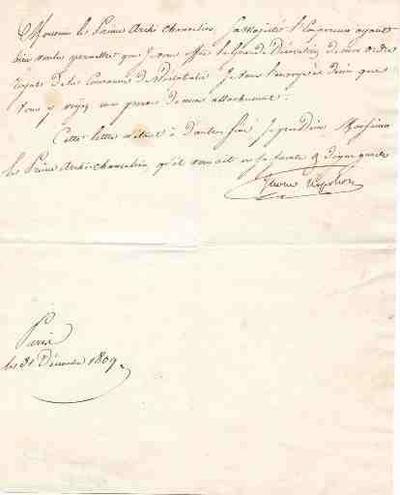 lettre ; Lettre du roi Jérôme à Cambacérès  lui envoyant la grande décoration de son ordre ; (concerne le n° 07825-1)