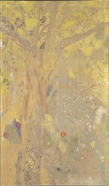 tableau ; Arbre sur un fond jaune