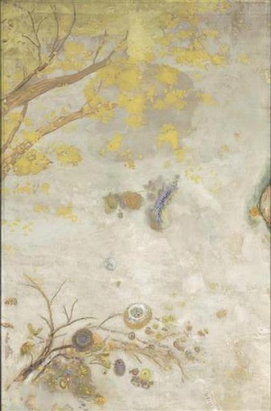 tableau ; La branche fleurie jaune