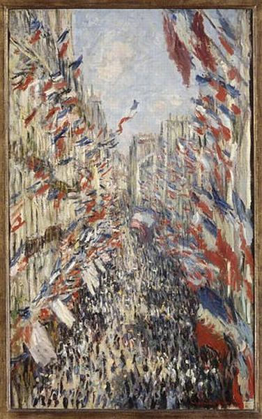 tableau ; La rue Montorgueil, à Paris. Fête du 30 juin 1878