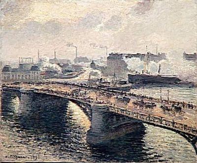 tableau ; Le pont Boïeldieu à Rouen  ; Soleil couchant, temps brumeux