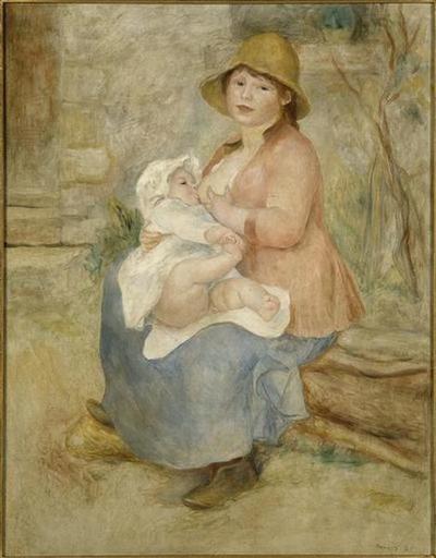 tableau ; L'enfant au sein ; Madame Renoir et son fils Pierre ; Maternité