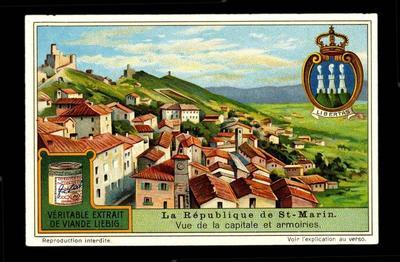 carte réclame ; Vue de la capitale et armoiries (b.m.) (titre inscrit)