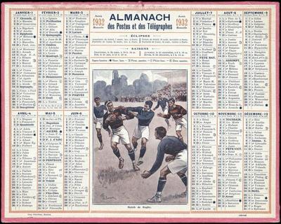 Image from object titled calendrier ; ALMANACH des Postes et des Télégraphes / Match de Rugby (titre inscrit)