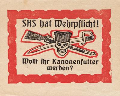 Image from object titled SHS hat Wehrpflicht!; plebiscitna nalepka; wollt ihr kanonenfutter werden?
