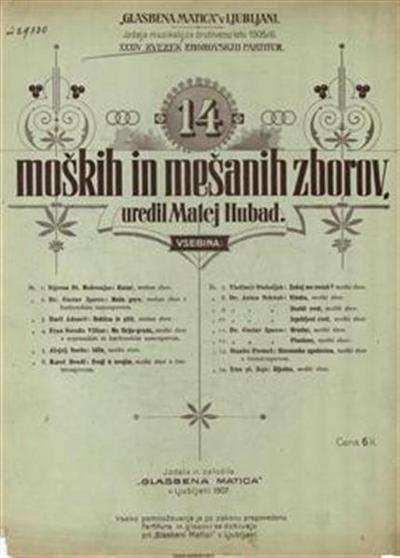 Image from object titled Glasbena matica. Zvezek 34; 14 moških in mešanih zborov