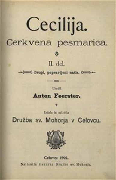 Image from object titled Cecilija; Cerkvena pesmarica, 2. del; Drugi, popravljeni natis