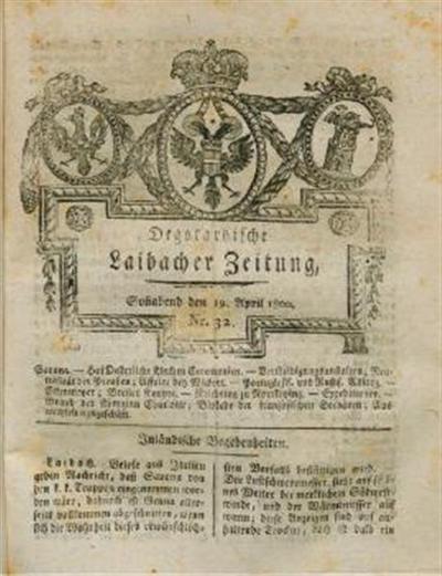 Image from object titled Laibacher Zeitung; Degotardische Laibacher Zeitung 1800 04 19