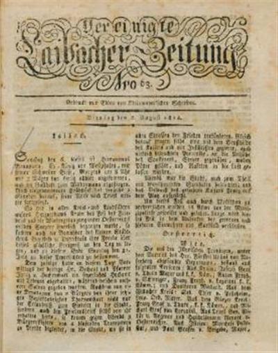 Image from object titled Laibacher Zeitung; Vereinigte Laibacher Zeitung 1814 08 08