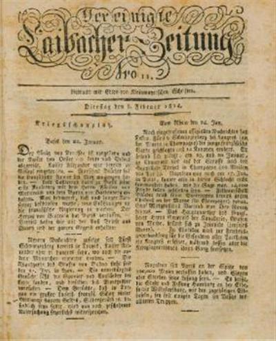 Image from object titled Laibacher Zeitung; Vereinigte Laibacher Zeitung 1814 02 08
