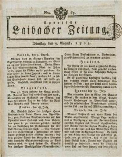 Image from object titled Laibacher Zeitung; Leopold Egerische Laibacher Zeitung 1803 08 09