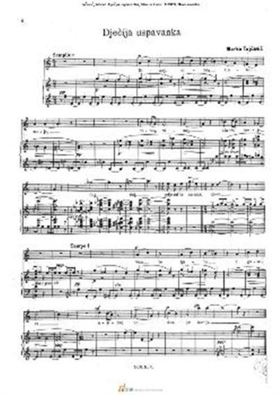 Dječija uspavanka; Glas in klavir