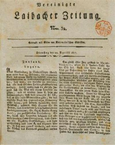 Image from object titled Laibacher Zeitung; Vereinigte Laibacher Zeitung 1817 04 22