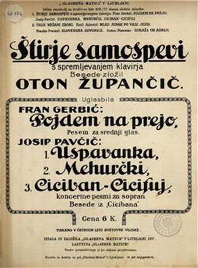 Image from object titled Štirje samospevi s spremljevanjem klavirja