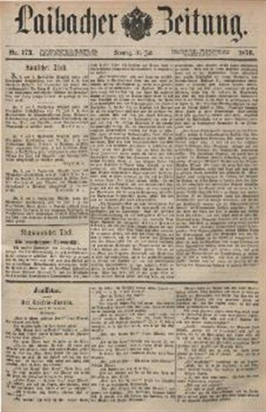 Image from object titled Laibacher Zeitung 1876 07 31