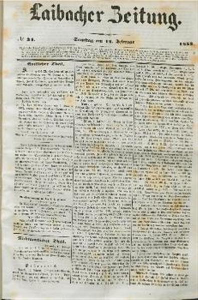 Image from object titled Laibacher Zeitung 1853 02 12