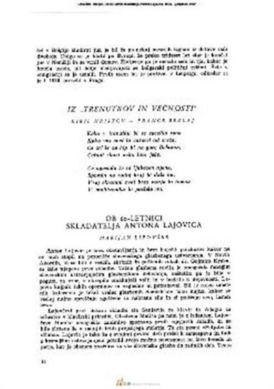 Image from object titled Ob 60-letnici skladatelja Antona Lajovica