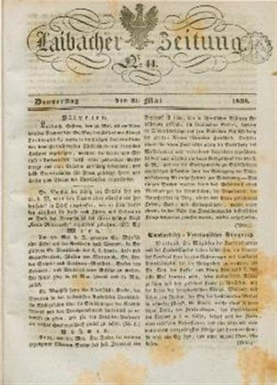 Image from object titled Laibacher Zeitung 1838 05 31