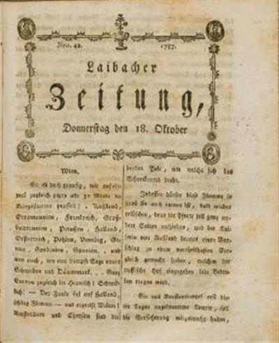 Image from object titled Laibacher Zeitung 1787 10 18