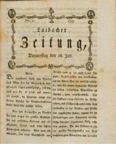 Image from object titled Laibacher Zeitung 1787 07 26