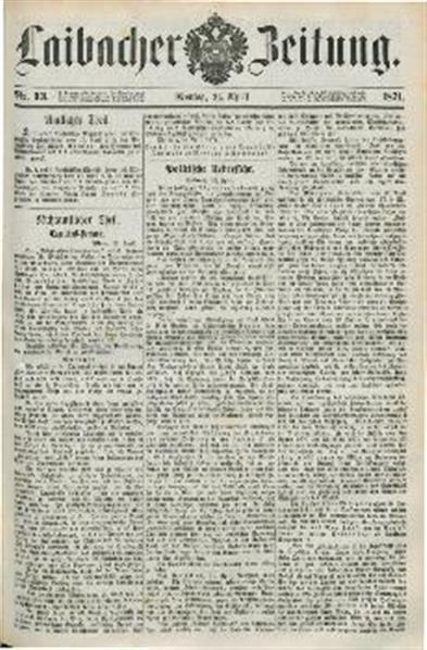 Image from object titled Laibacher Zeitung 1871 04 24