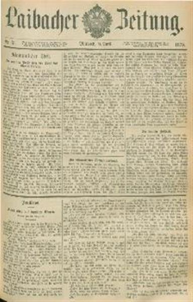 Image from object titled Laibacher Zeitung 1879 04 09