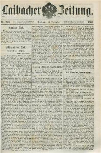 Image from object titled Laibacher Zeitung 1868 11 18