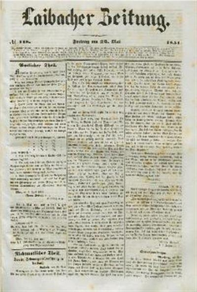 Image from object titled Laibacher Zeitung 1851 05 23