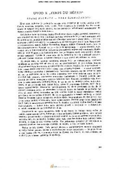 Image from object titled Uvod k »Temps du mépris«