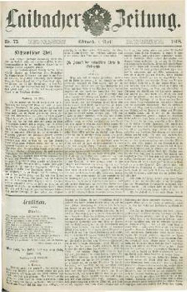 Image from object titled Laibacher Zeitung 1868 04 01