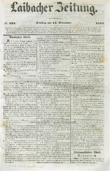 Image from object titled Laibacher Zeitung 1852 12 21