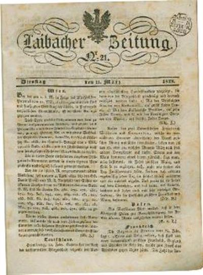 Image from object titled Laibacher Zeitung 1828 03 11