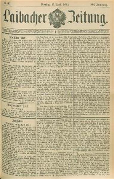 Image from object titled Laibacher Zeitung 1889 04 15