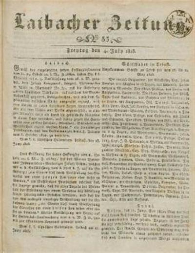 Image from object titled Laibacher Zeitung 1823 07 04