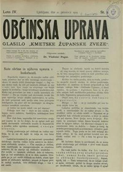 Image from object titled Občinska uprava : poučni stanovski list županom, občinskim tajnikom, občinskim svetovalcem in drugim javnim organom