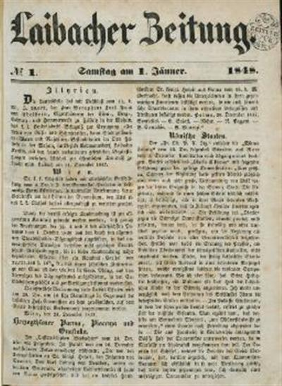 Image from object titled Laibacher Zeitung 1848 01 01