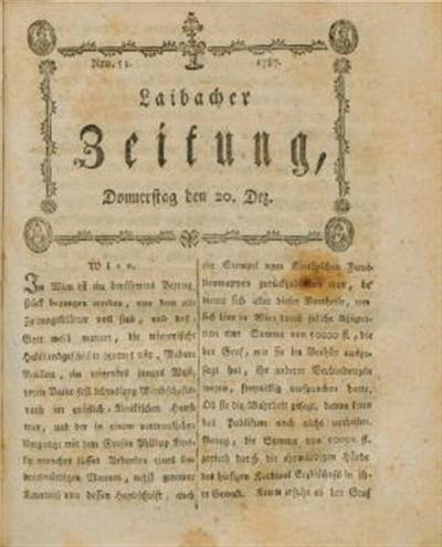 Image from object titled Laibacher Zeitung 1787 12 20