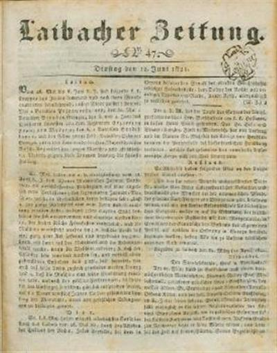 Image from object titled Laibacher Zeitung 1821 06 12