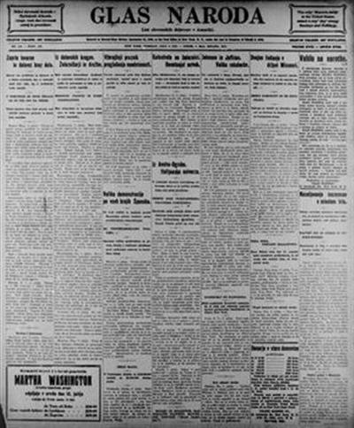 Image from object titled Glas naroda: najstarejši list slovenskih delavcev v Ameriki