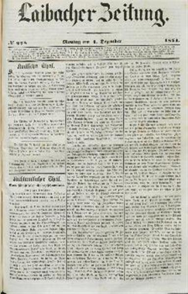 Image from object titled Laibacher Zeitung 1854 12 04
