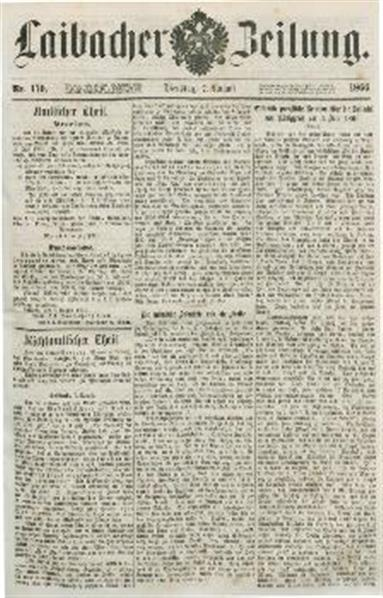 Image from object titled Laibacher Zeitung 1866 08 07