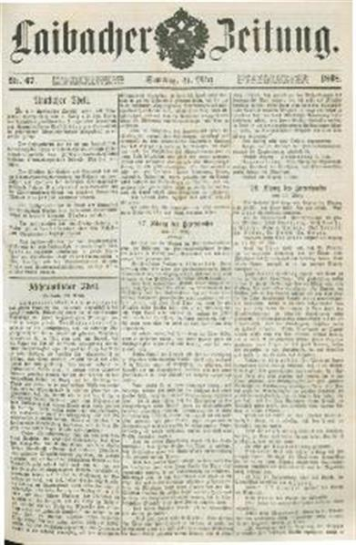 Image from object titled Laibacher Zeitung 1868 03 21