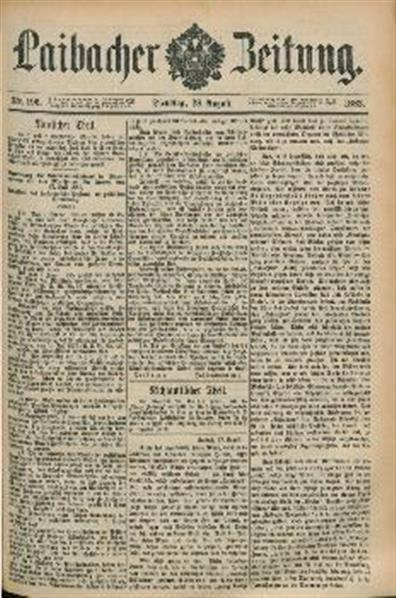 Image from object titled Laibacher Zeitung 1883 08 28