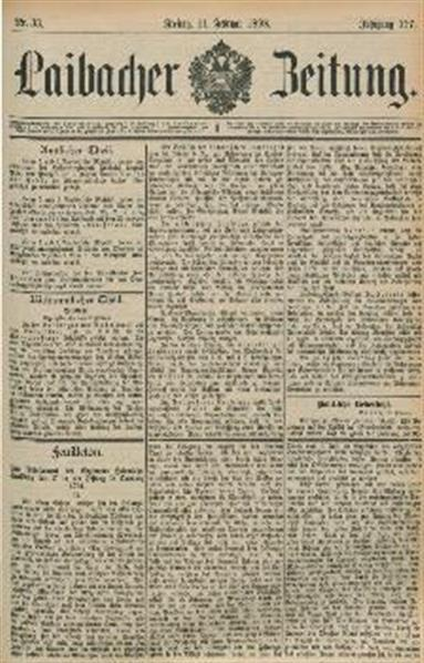 Image from object titled Laibacher Zeitung 1898 02 11