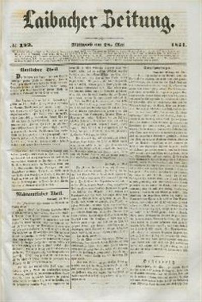 Image from object titled Laibacher Zeitung 1851 05 28