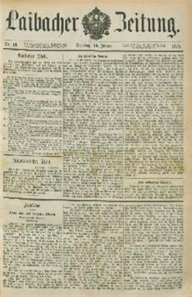 Image from object titled Laibacher Zeitung 1879 01 14