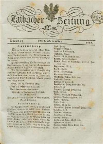 Image from object titled Laibacher Zeitung 1829 12 01