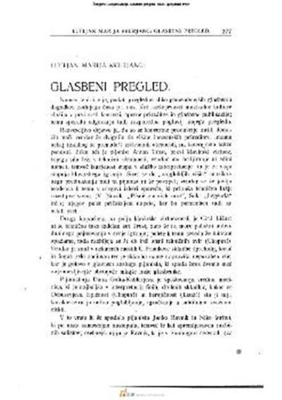 Image from object titled Glasbeni pregled