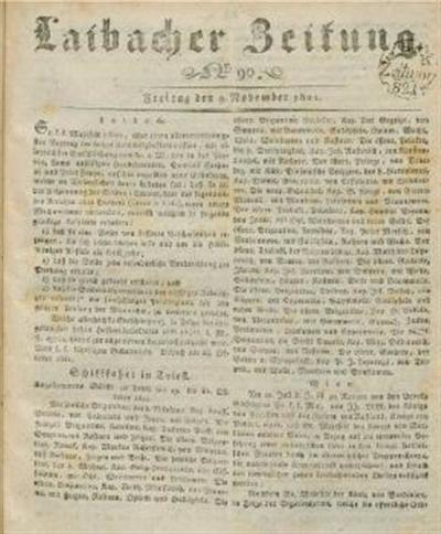 Image from object titled Laibacher Zeitung 1821 11 09